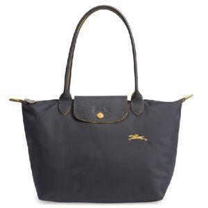 Longchamp Lepliage Club Large Grey Shoulder Bag